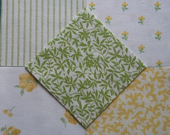 50  Laura Ashley Fabric Vintage 1970s/80s Patchwork Pieces ~Cowslip & Moss~