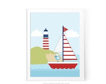 Lighthouse Print, Sailboat Print, Kids Room Art, Nautical Print, Nursery Print, Nursery Wall Art, Baby Room Decor, Baby Shower Gift D82-16-1