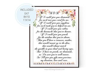 Mother's Day Print, If I could give you diamonds... Mother's Day Poem, Mother's Birthday, Wall Art, Gift Ideas, Mother's Day Gift, D85-1