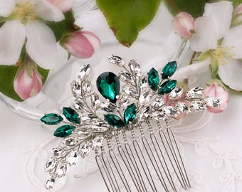 Green crystal hair comb Emerald bridal hair comb Green rhinestone hair comb Art deco hair comb Emerald Green hair comb wedding hair comb