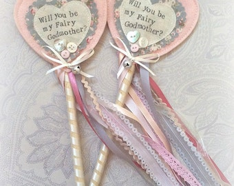 Will you be my ? Fairy wand vintage lace Handmade personalised keepsake