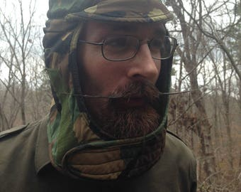 Vintage 1980s US Military Helmet Liner / Ear and Face Guard / Camo / Size 7