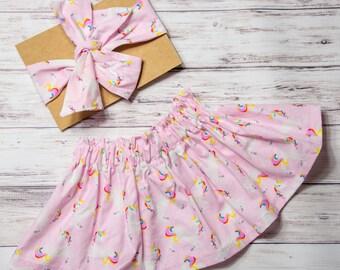 Pink unicorn Skirt- unicorn outfit, unicorn headband, unicorn birthday party, unicorn party, rainbow unicorn outfit, unicorn skirt
