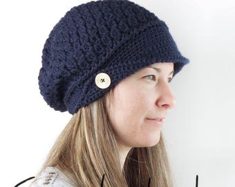 Crochet women's hat with buttons