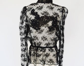 VTG Victorian Style Black Lace Blouse by Russell Trusso