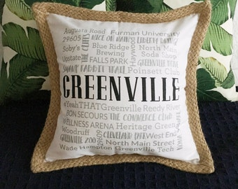 Greenville, SC pillow cover - White