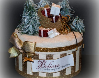 Christmas Gift Box, Glitter Sled Centerpiece, Christmas Decoration, Unique Gift Box, Collectible Christmas Box