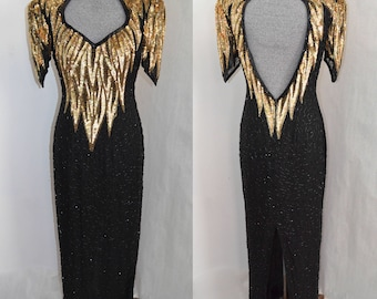 Stunning Open Back Beaded Sequin Vintage Evening Gown Full Length Black and Gold Size 6 8