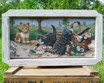 Cat Art Print Picture/Wall Art/Wall Hanging/Kittens/Country Decor Shabby Chic Distressed Frame/Hand Painted/Framed Print/80's Vintage
