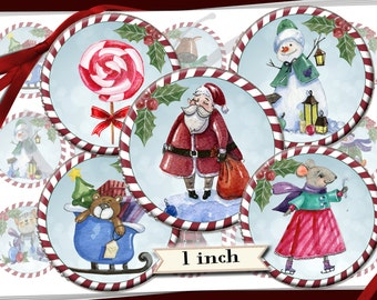 Christmas watercolor Whimsical Vintage 1 inch Bottle Cap images with candy cane border - 600dpi  printable digital collage sheet