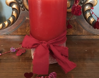 Candle, Valentines candle, valentines gift, red candle, cinnamon scented candle, flameless candle,