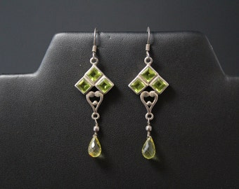 Sterling Silver and Peridot Dangle Briolette Drop Dangle Earrings