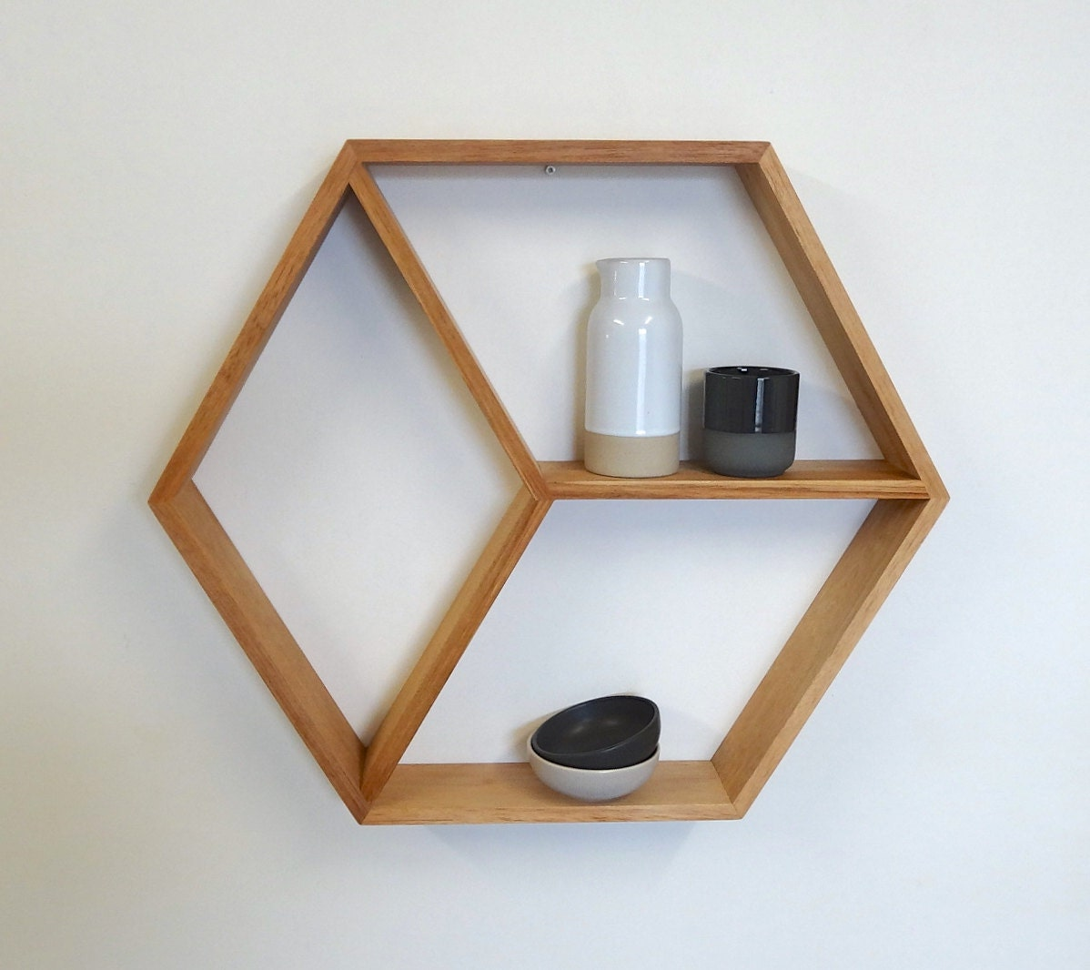 Hexagon Wooden Shelf Geometric Shelf Maple