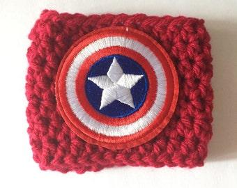 Captain America Cup Cozy - Crochet Cup Cozy - Cup Hug - Cup Sleeve - Marvel Cup Sleeve