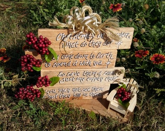 Christmas in Heaven Memorial Display Rustic Natural primitive finish with bows and berries Sympathy Christmas Gift with chair. Christmas
