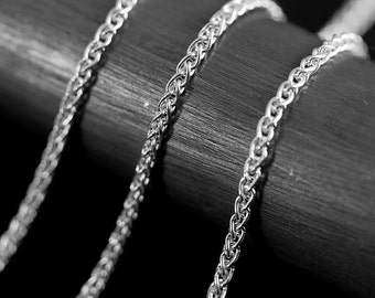 By The Inch Wheat Argentium Sterling Silver Chain 1.7 mm
