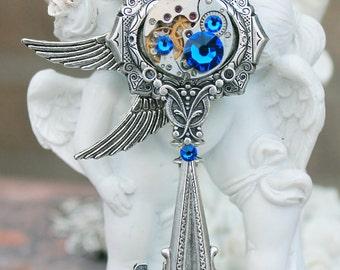 Steampunk key necklace with swarovski deep blue crystals
