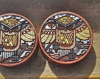 "1 pair (2 pieces) Saba Wood Owl Plug Gauges 11/16"" 7/8"" 15/16"" 1-1/16"" 18 mm 22 mm 24 mm 26 mm"