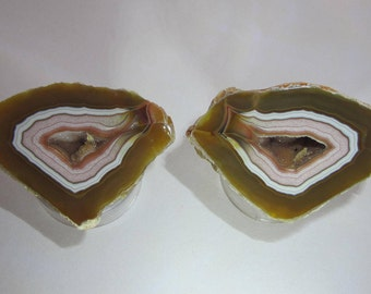Gorgeous banding, cut and polished all natural Moctezuma Agate with signature salmon color!  Perfect for display or for slicing and cabbing.