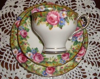 """Paragon Trio """"Tapestry Rose"""" Fine Bone China England - Vintage Tea Cup, Saucer and Side Plate - Needle Point Pink Roses"""