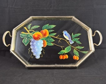 Reverse Glass Painting Serving Tray rectangular tray vintage tray tea serving collectors item farmhouse cottage artwork floral decoration