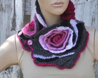 Crochet Scarf Roses Capelet Neck Warmer Freeform crochet Pink White Gray Womens scarf Freeform Crochet scarf gift