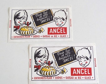 2 French Vintage Advertising Blotting Papers ANCEL