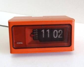 Vintage 1970s Orange COPAL Flip Alarm Clock