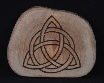 Found Wood Triquetra Symbol with pyrography design