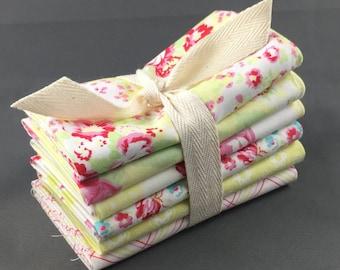 "Lola Fat Quarter Bundle by Tanya Whelan for FreeSpirit Fabrics ~ 6 Yellow & Pink 18""x22"" PreCut Cotton Quilt Pieces"