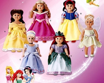"Classic Disney Princess, BELLE, Tinkerbell, Cinderella, Sleeping Beauty, Snow White, Ariel, Simplicity 1581, 18"" AG Doll Pattern, Un-cut"