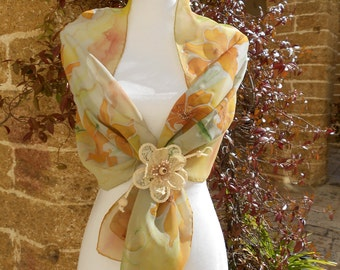 Hand painted chiffon scarf. Lilac flowers, grey, yellow, green, for her, hand painted silk scarf. OOAK Gift ideas. Made in Italy