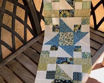 "DIY Blue Floral Table Runner | ""Indian Summer"" Friendship Star Quilt Top ONLY  | Unfinished Floral Quilt Top Only  | DIY Summer Wall Hanging"