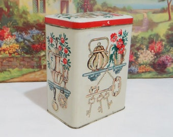 Vintage Tin Box Great Britain English Tin Container Hinged Lid Old Kitchen Metal Bisquit Cookie Holder Can