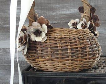 Adorable whimsical woodland flower girl basket,Adirondack Easter, forest, rustic, gnarled gnome like, natural wedding, birch bark flowers,