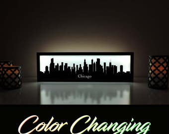 Chicago Skyline, Chicago Lightbox, Chicago Skyline Light Up Picture, Chicago Skyline Sign, Nightlight, LED Lamp, Home Decor
