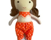 Rag doll clothing set, top bloomers shoes, dress up set for fabric dolls, matching accessories to all of the dolls by La Loba Studio,