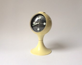 vintage space age alarm clock Blessing W Germany White  plastic 60's 70's