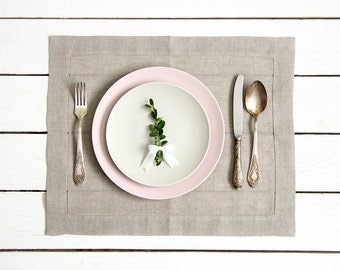 Linen Placemats set of 2 made of natural flax and hemstitched