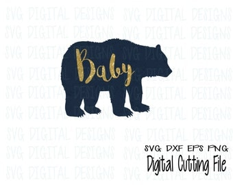 Baby Bear Svg Cut File  SVG Digital Design Cutting file for Silhouette & Cricut Svg Dxf Eps Png Instant Download Bear Vector Clipart