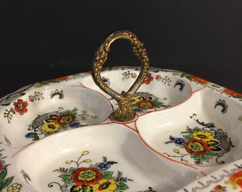Vintage China Sectioned Tidbit Relish Dish | Made in Japan | Orange Green Floral Piece | Brass Handle | Vintage Serving Piece | Thanksgiving
