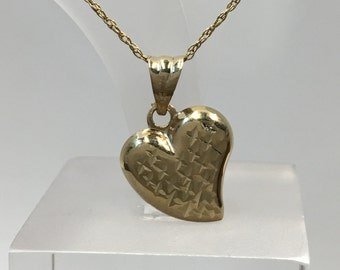 Vintage 10k Gold Puffy Heart Shinny Finish w/ X for Kisses Pendant Charm, Solid Gold 10K ,Valentines Gold Heart Pendant