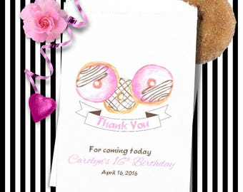 Personalized Donut Bags Pink (24 BAGS) - Doughnut Bags - Wedding Party Favors - Donut Bar Buffet - Birthday Party D03a-P199