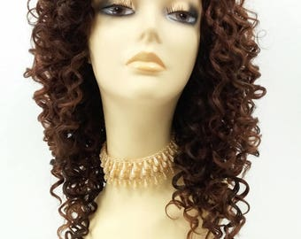 14 Inch Lace Front Dark & Light Auburn with Dark Brown Curly Wig. Spiral Curls Heat Safe Synthetic Fashion Wig. [112-522B-Flora-4/30/33]