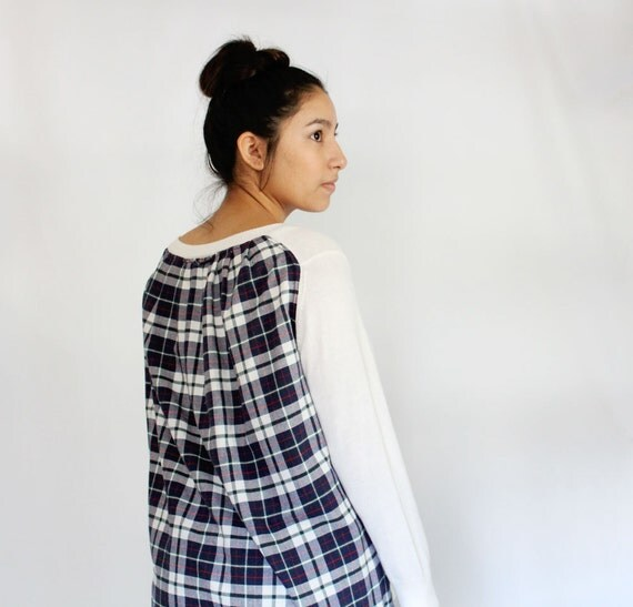 Plaid Color Blocked Refashioned Sweater, White Soft long sleeve top, plaid loose fit shirt, Navy and White, Flowy Sweater, Upcycled Top