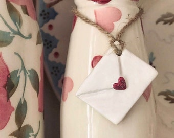 Hand made clay heart envelope tag