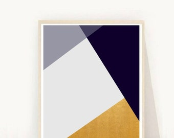 Modern Scandinavian, Geometric art Print, Abstract Art Print, Navy And Gold Art, Printable  Art, Instant Download, Home Decor, Wall Decor