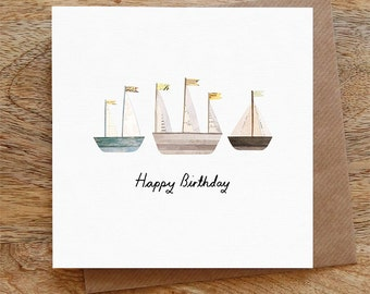 BIRTHDAY BOATS - Greeting Card, Birthday Card, Boats, Happy Birthday, Illustrated, Collage