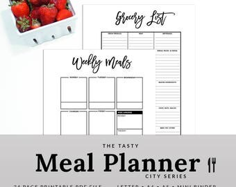 Weekly Meal Planner - Meal Planner Printable - Menu Planner - Grocery List - Meal Planner - Shopping - City - PMEA-1200-A - INSTANT DOWNLOAD