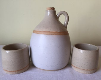 Handmade Ceramic Whiskey Jug and Tumbler Set